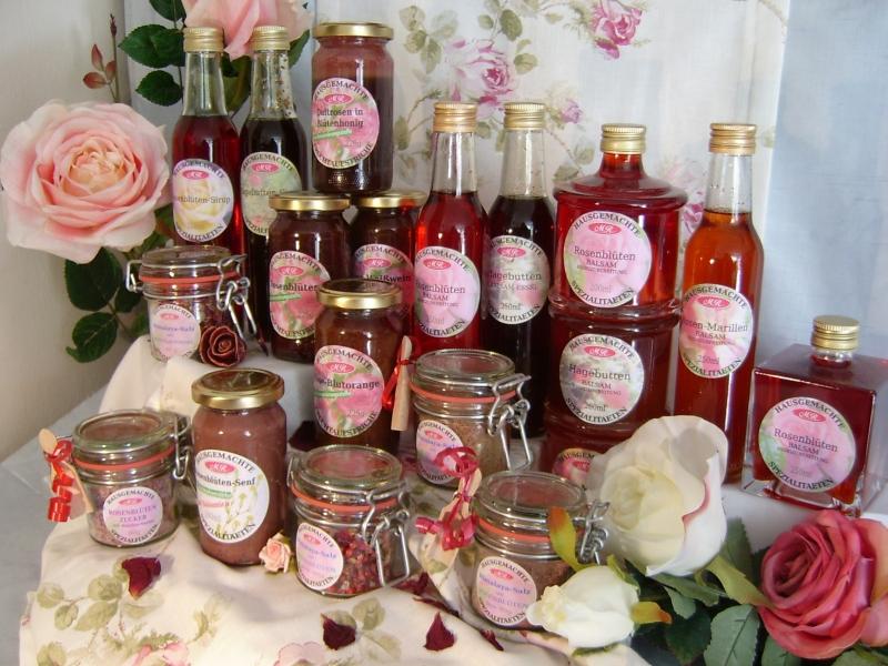 Hausgemachte Rosenprodukte