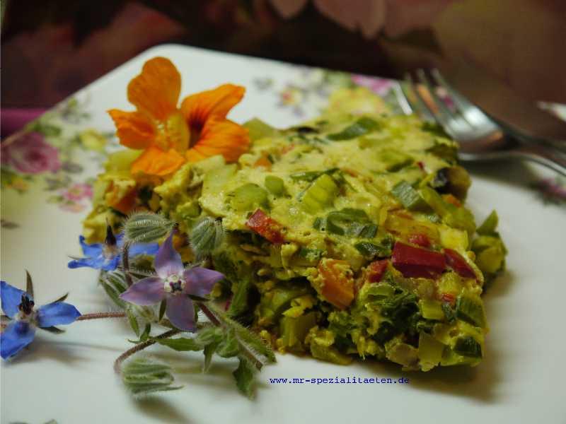 Read more about the article Gemüse-Omelette mit Himbeer-Balsam-Essig und Rosen-Senf