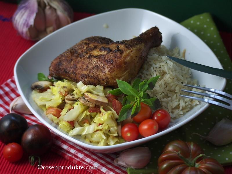Hühnerschenkel mit Spitzkohlgemüse rosen essen