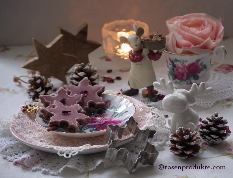 Rosenblüten-Rotwein-Sterne rosen essen