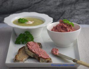 Lauch Creme Suppe und Rosen-Senf-Butter