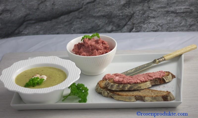 Rosen Senf Butter auf Brot mit Lauchcreme Suppe Rosen delikat essen