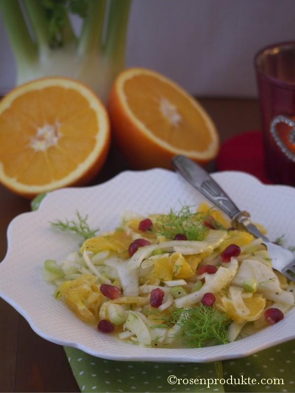 Fenchel Orangen Salat auf weissem Teller