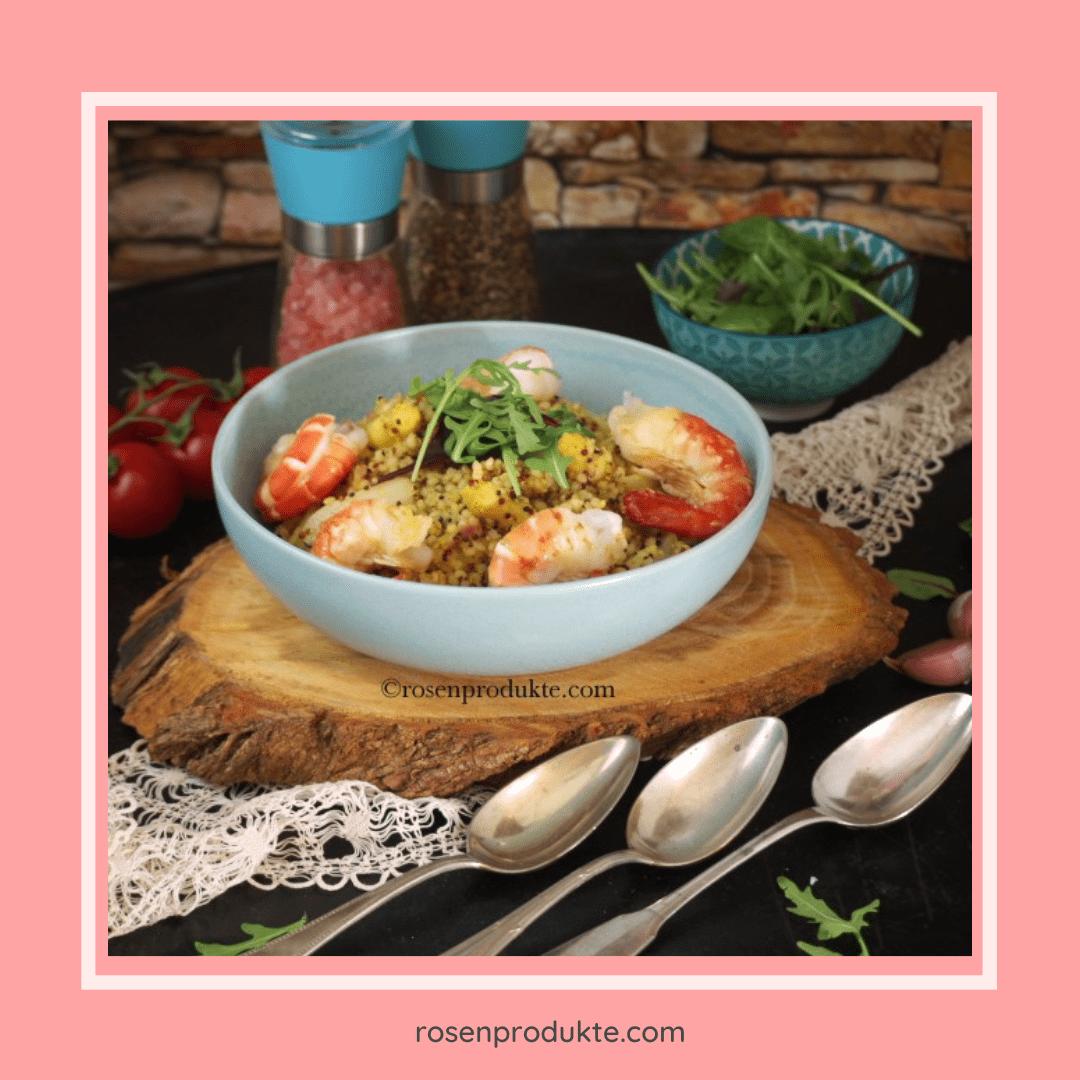 Read more about the article Erstaunlich einfaches Spargelrisotto mit Graupen, Garnelen und Rucola-Salat